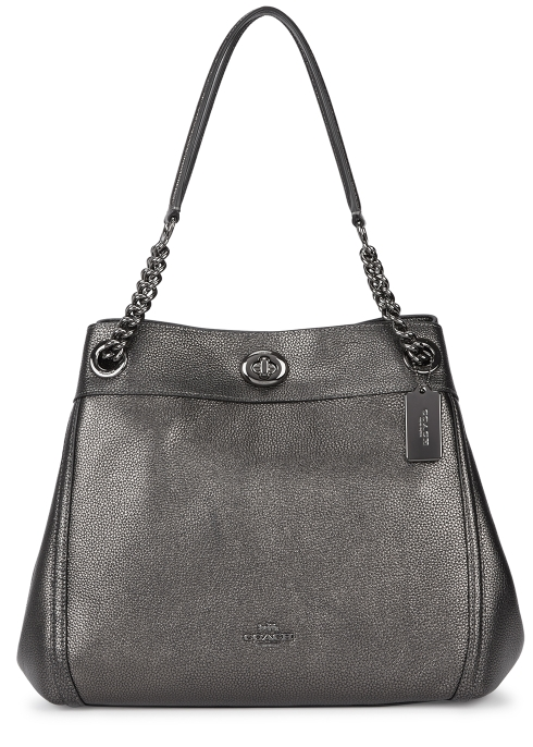 9bb3df710768 Coach Turnlock Edie gunmetal leather shoulder bag - Harvey Nichols