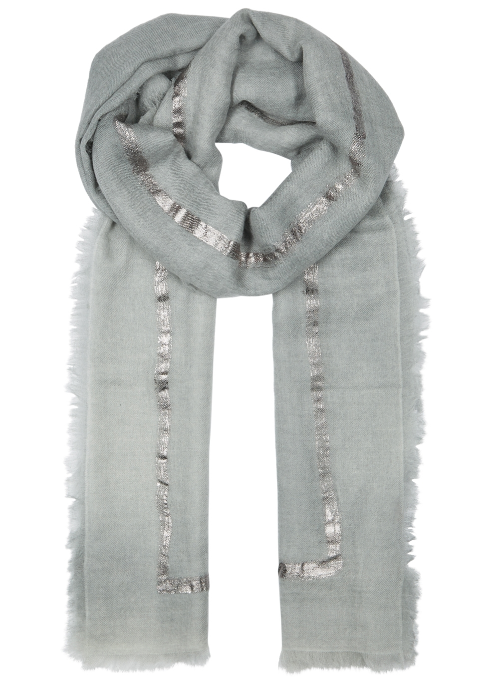 AMA PURE Righino Foil-Print Cashmere Scarf in Dark Grey