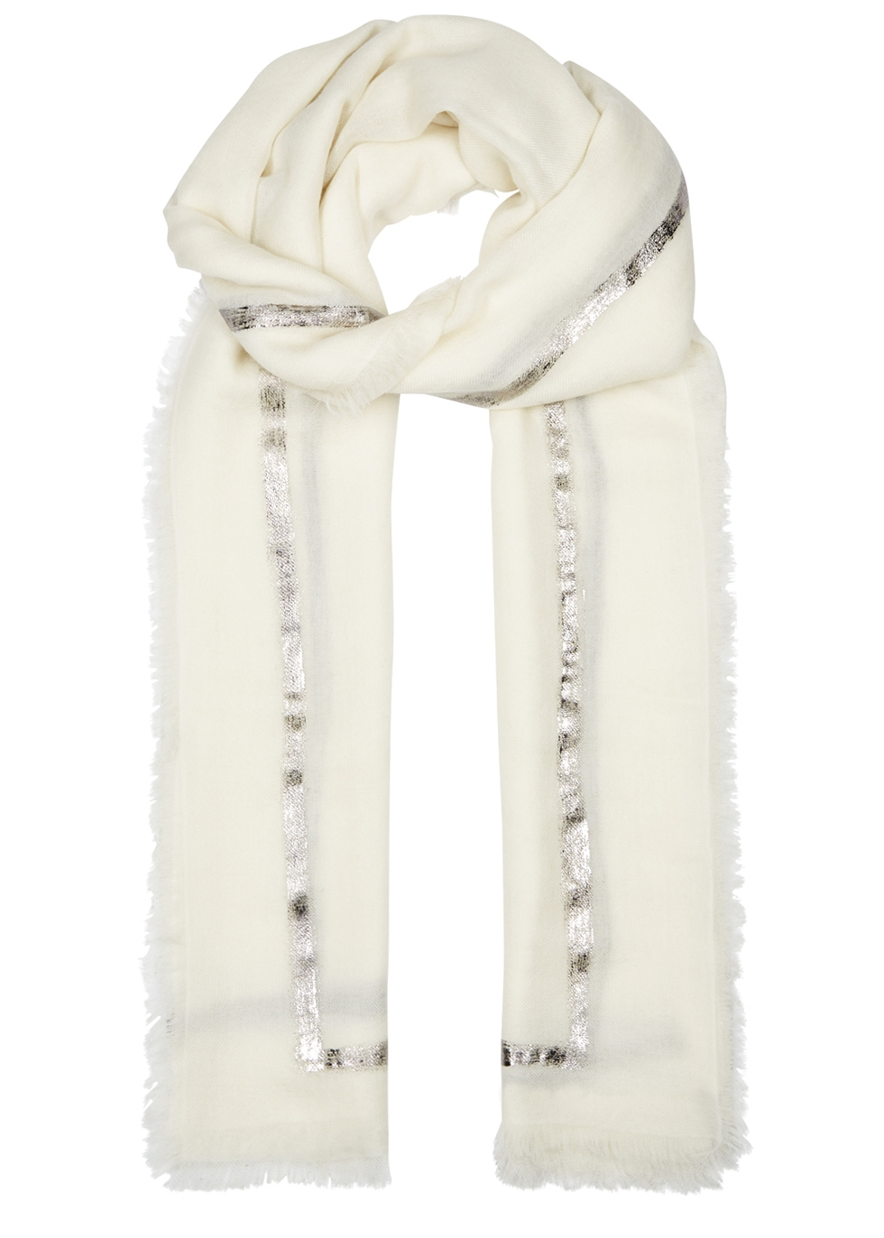AMA PURE Righino Foil-Print Cashmere Scarf in White