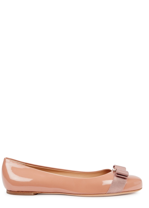 345138293968 Salvatore Ferragamo Varina rose patent leather flats - Harvey Nichols