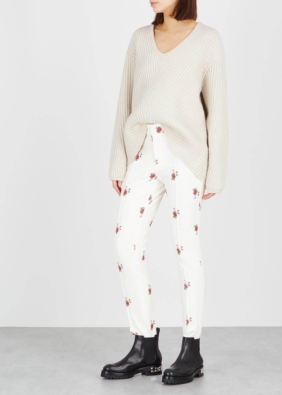 d3b3c3c55b Moncler Genius Moncler Grenoble embroidered stretch-twill trousers - Harvey  Nichols