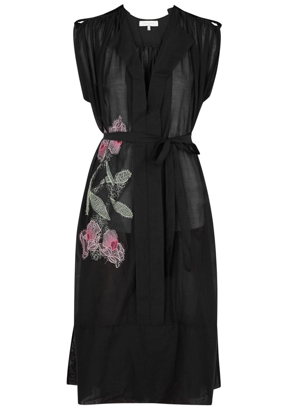 LILA.EUGENIE Lila. Eugénie Black Floral-Embroidered Voile Dress