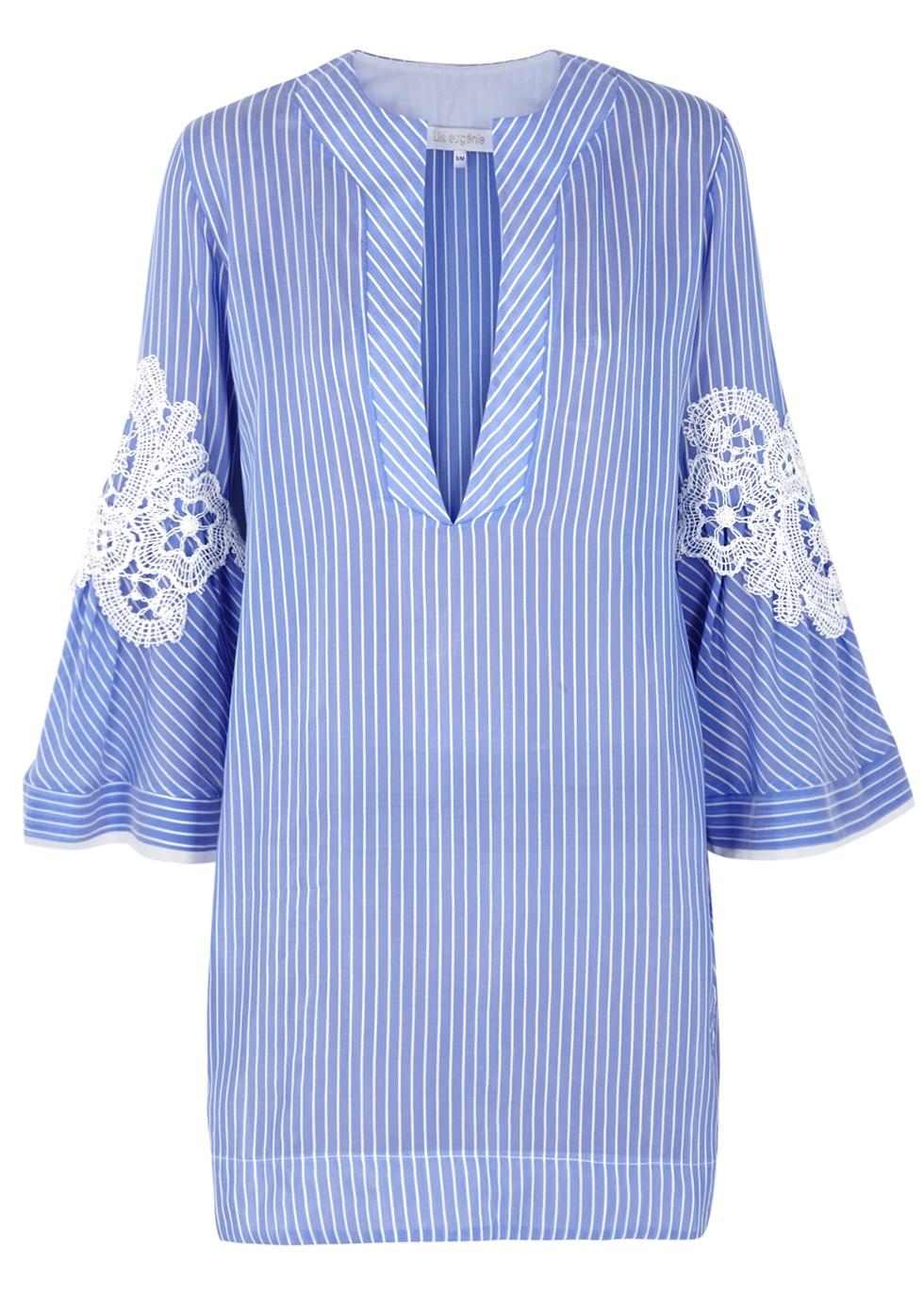 LILA.EUGENIE Lila. Eugénie Striped Appliquéd Voile Kaftan in Blue And White