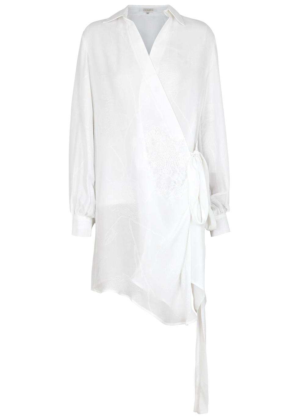 LILA.EUGENIE Lila. Eugénie White Floral-Jacquard Voile Wrap Dress