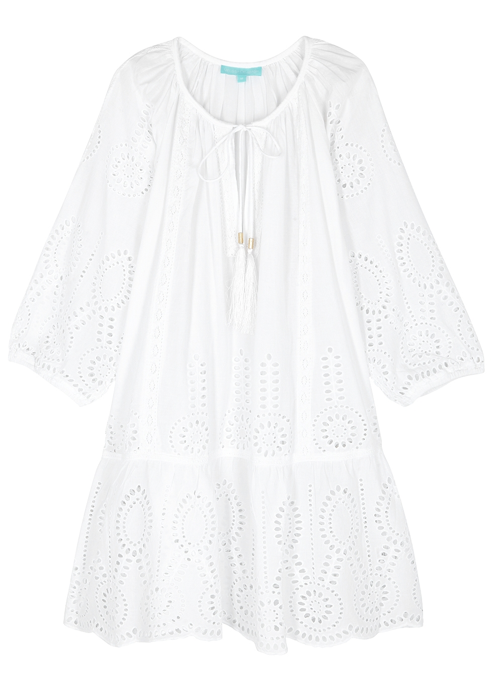 Ashley Eyelet-Embroidered Cotton Dress in White