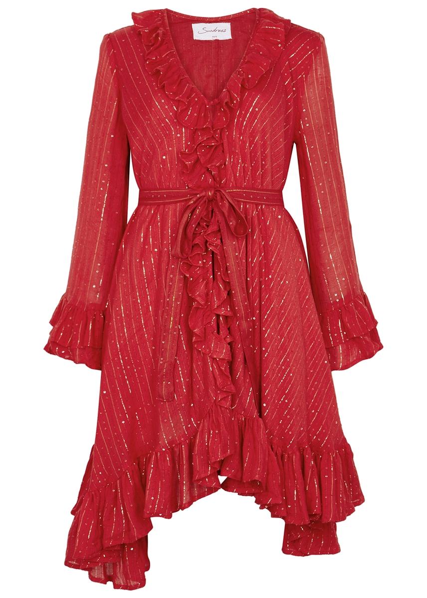 5b91e3e2019 Jasper red sequin-embellished dress ...