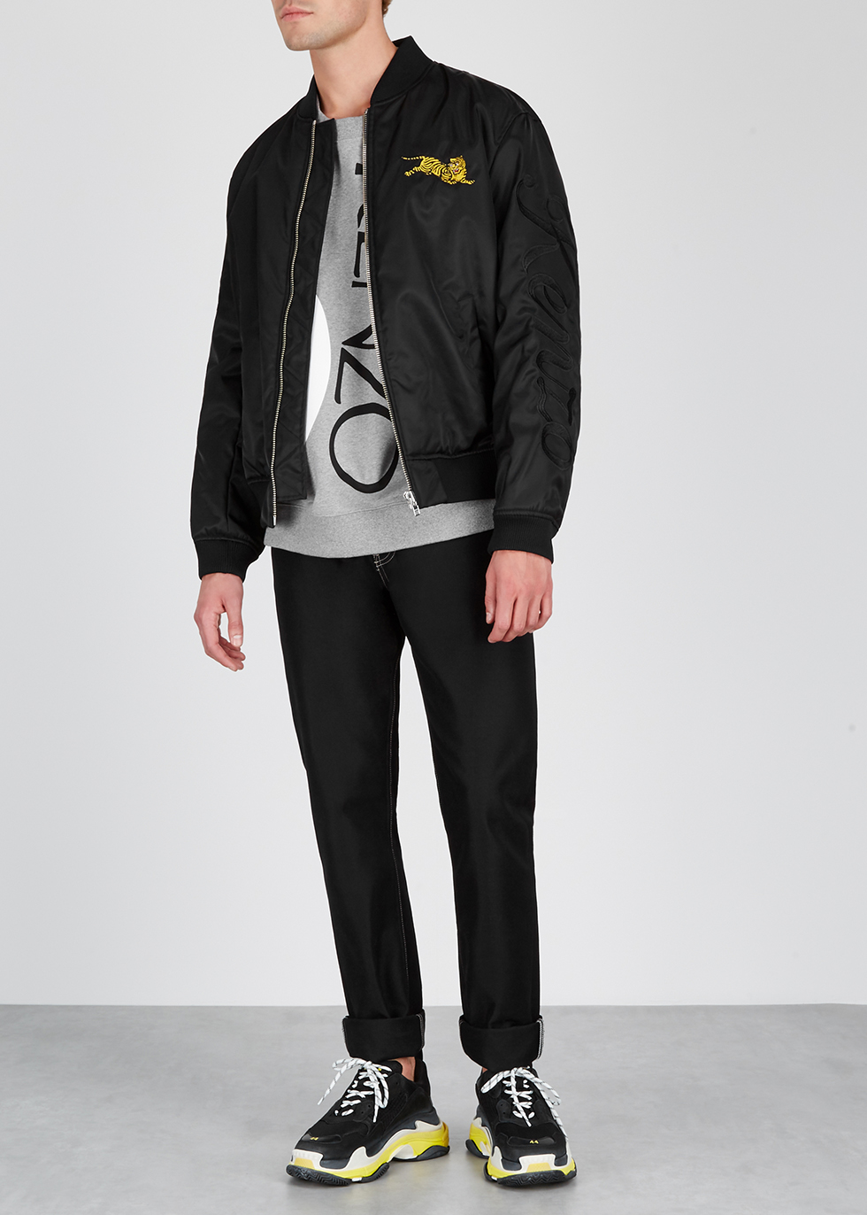 Black embroidered shell bomber jacket - Kenzo