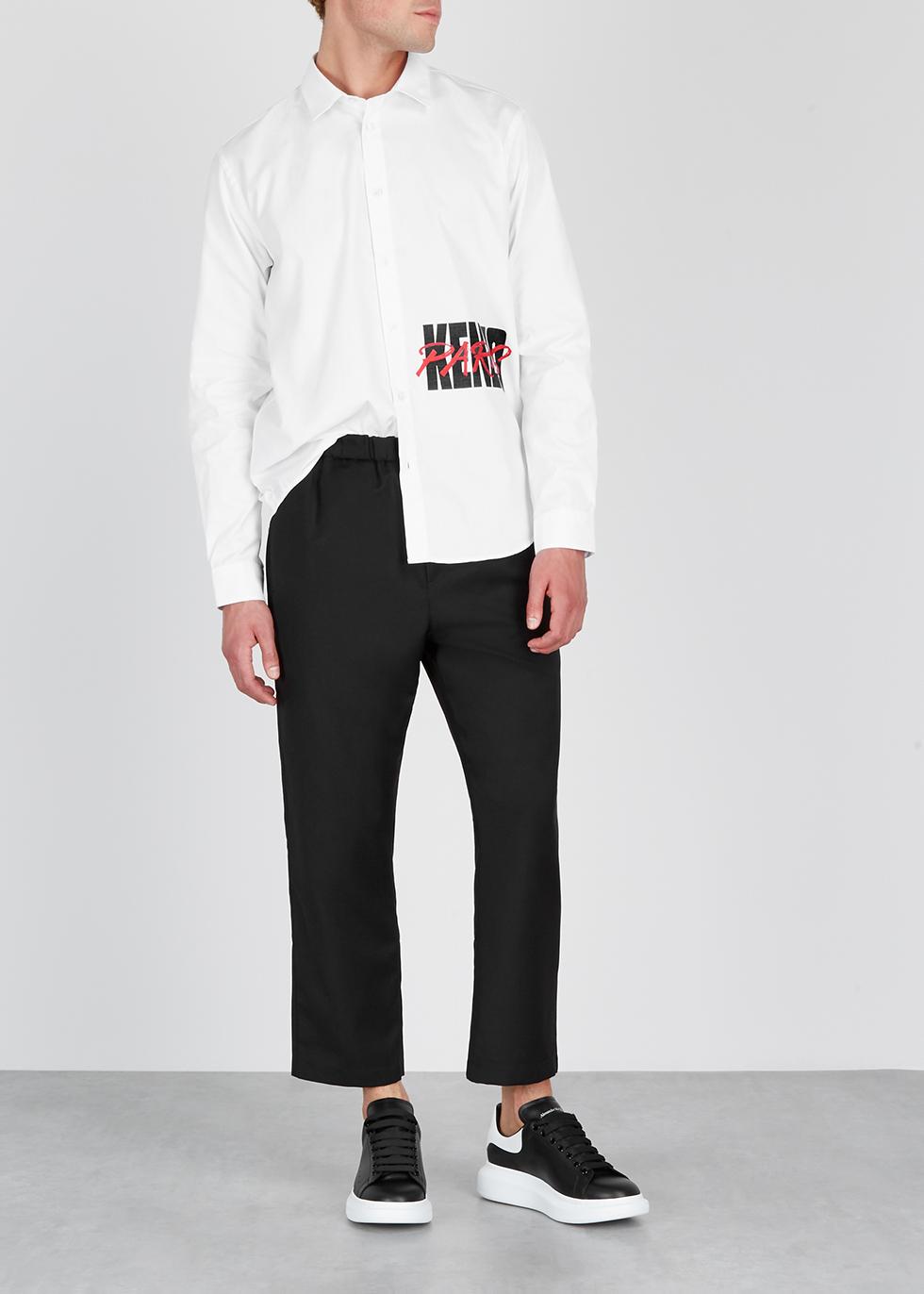 White logo-print cotton shirt - Kenzo