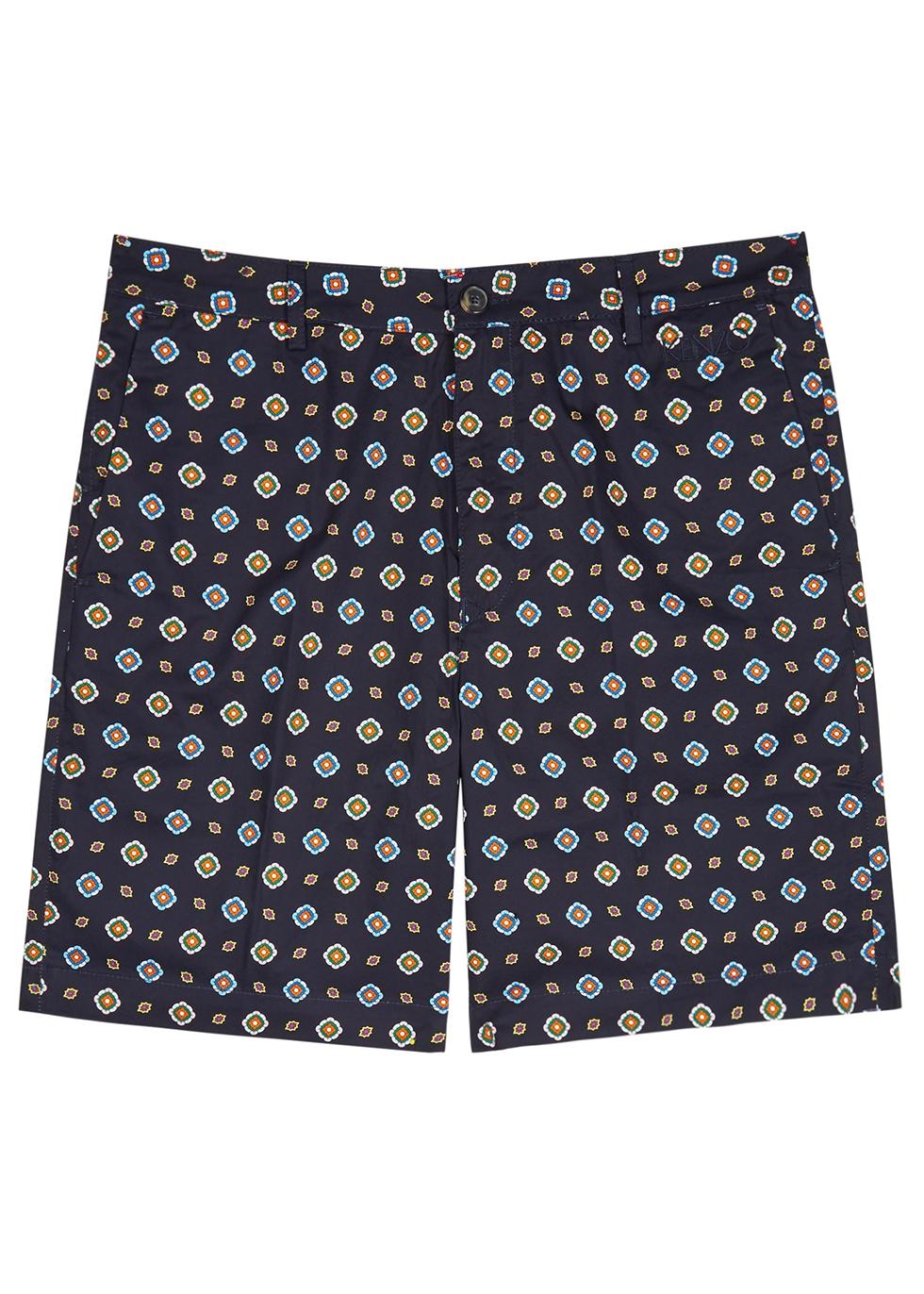 Navy printed cotton shorts - Kenzo
