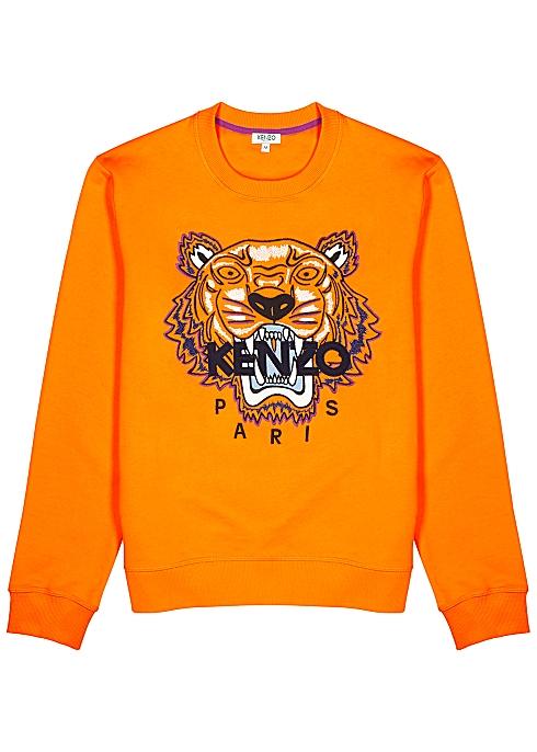 991b4b97 Kenzo Orange tiger-embroidered cotton sweatshirt - Harvey Nichols