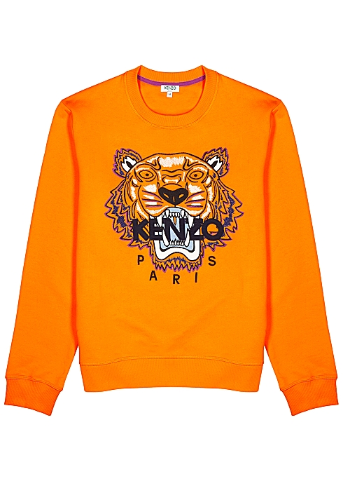 0d8064b9cd9 Kenzo Orange tiger-embroidered cotton sweatshirt - Harvey Nichols