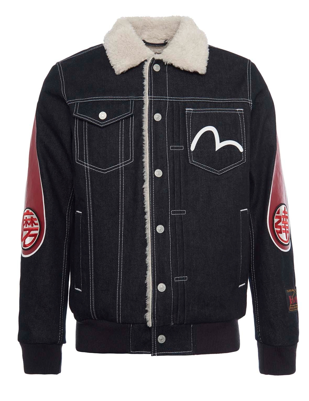 EVISU Daicock Printed Shearling Denim Jacket