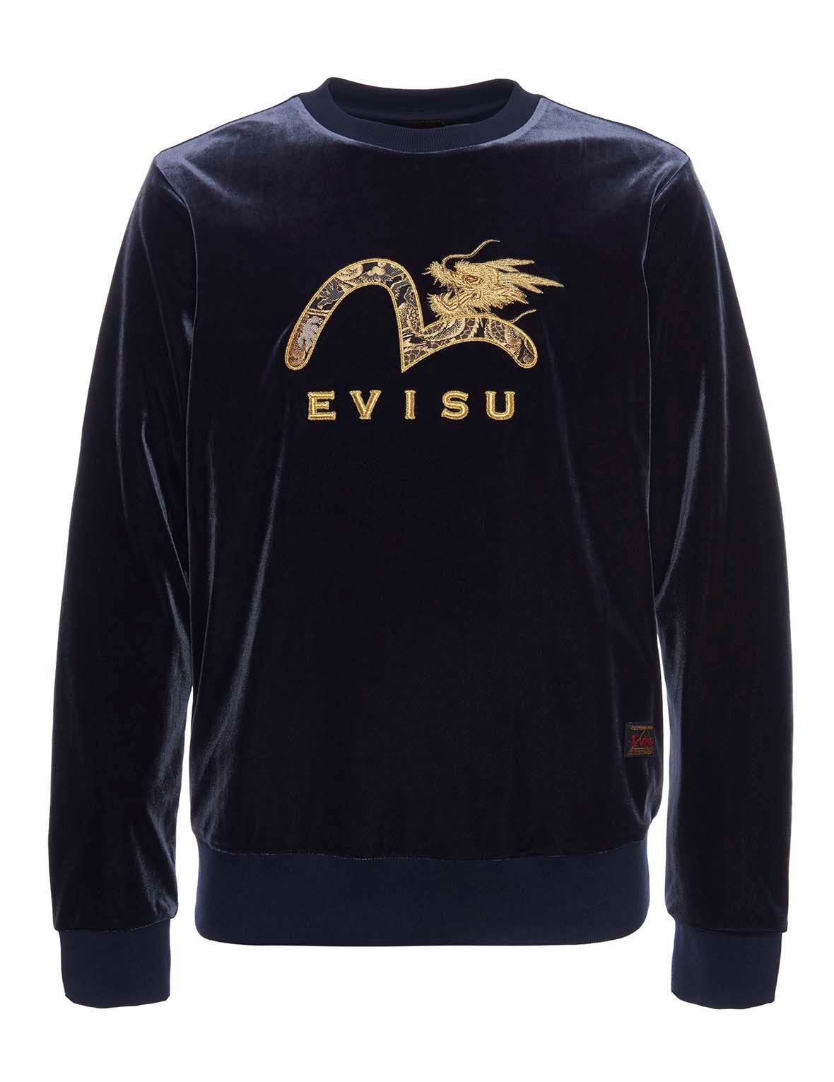 EVISU Brocade Appliqued Velour Sweatshirt With Dragon Embroidery