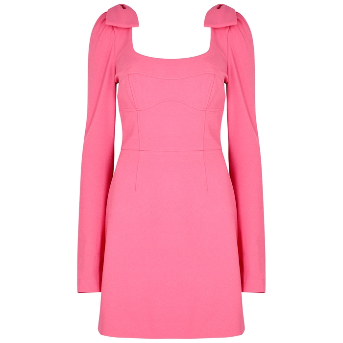 Rebecca Vallance LOVE PINK BOW-EMBELLISHED CADY DRESS