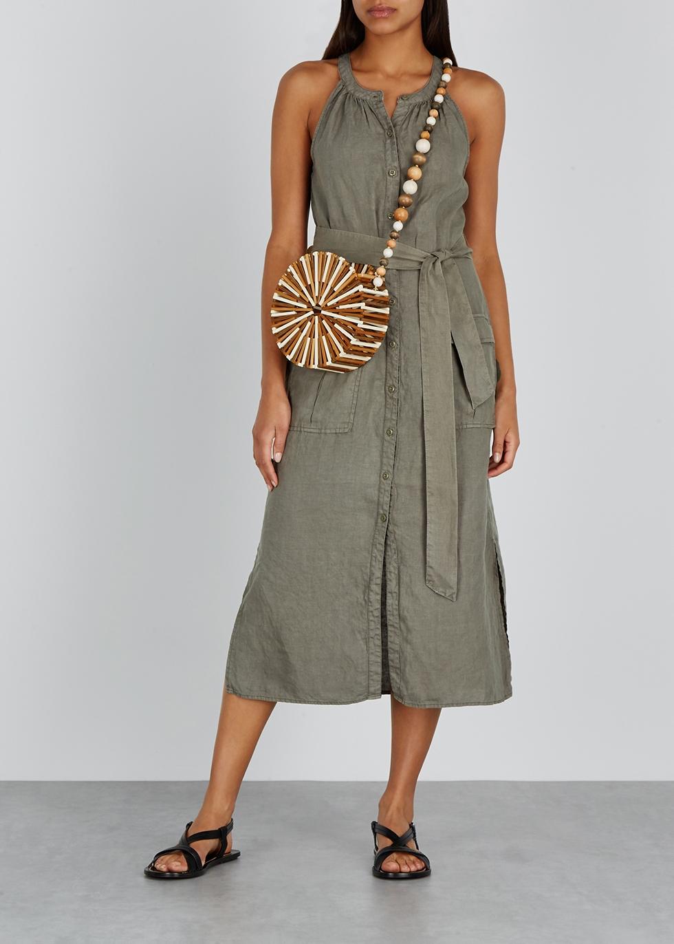 Edelie army green linen midi dress - Joie