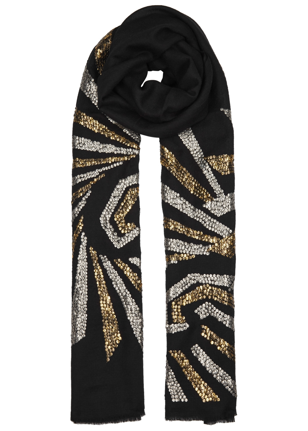 JANAVI Sequence Illusion Embellished Cashmere Scarf in Black