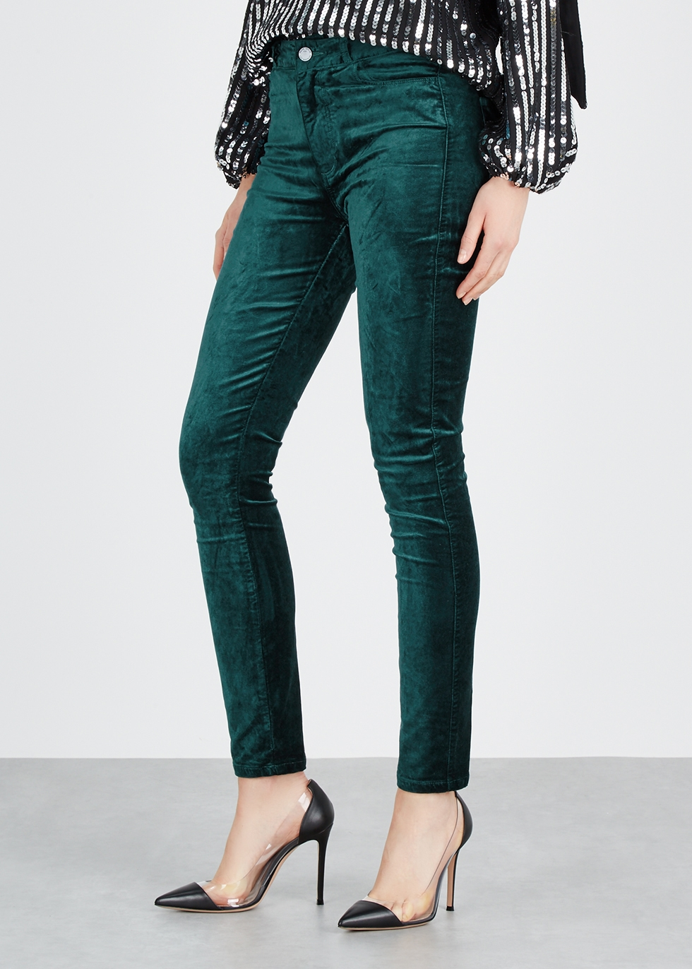 Hoxton teal skinny velvet jeans - Paige
