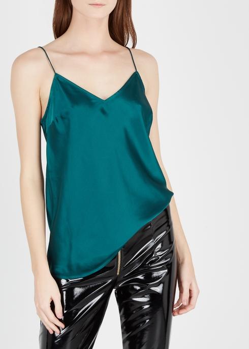 c35bd990659369 Paige Cicely dark green silk satin top - Harvey Nichols