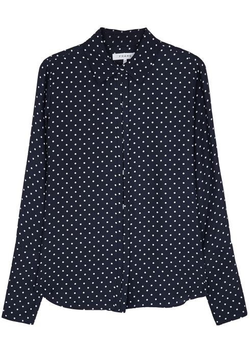 b523d1df80fa5 FRAME DENIM Navy polka-dot silk shirt - Harvey Nichols