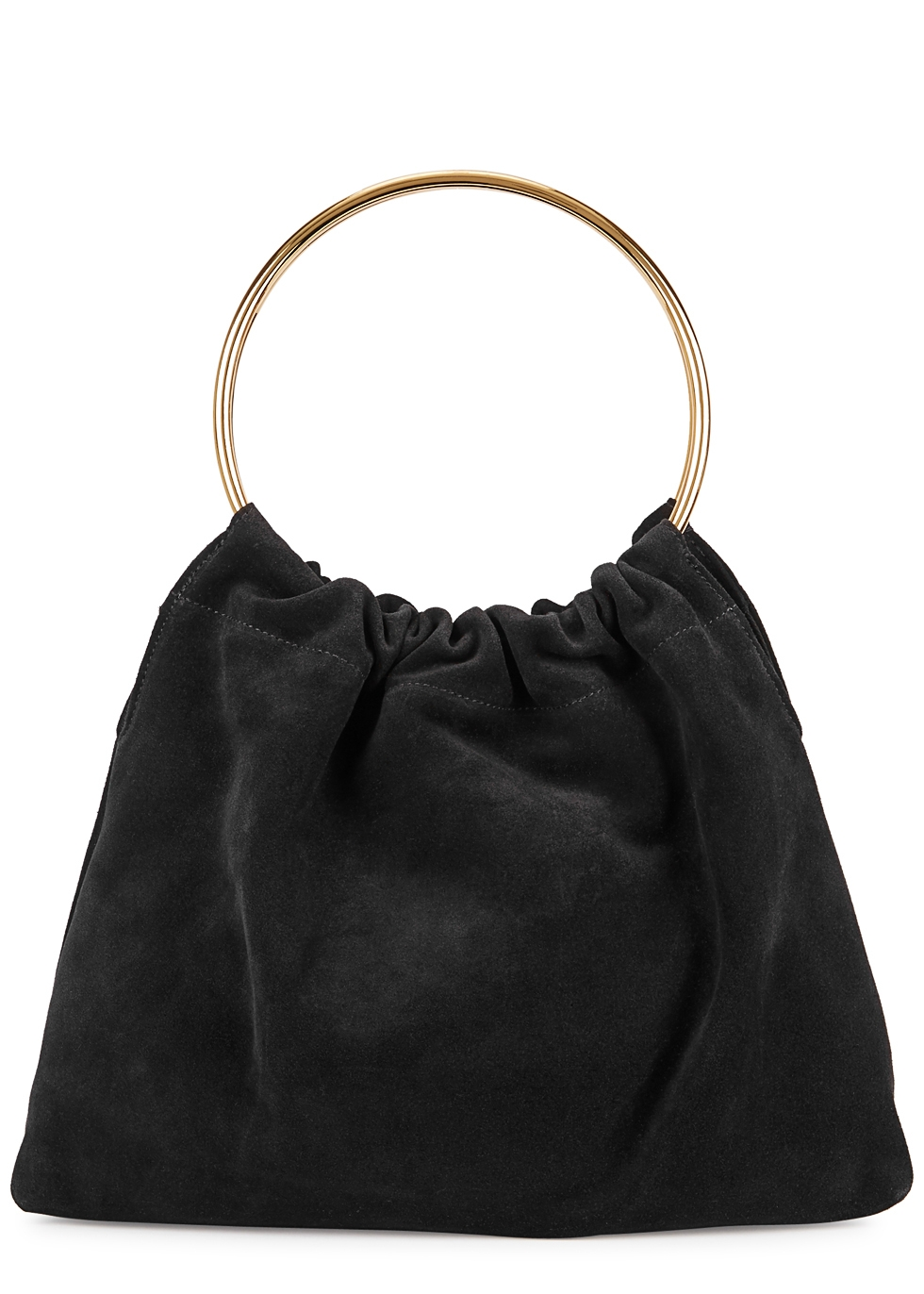 LITTLE LIFFNER Ring Purse Small Black Suede Tote