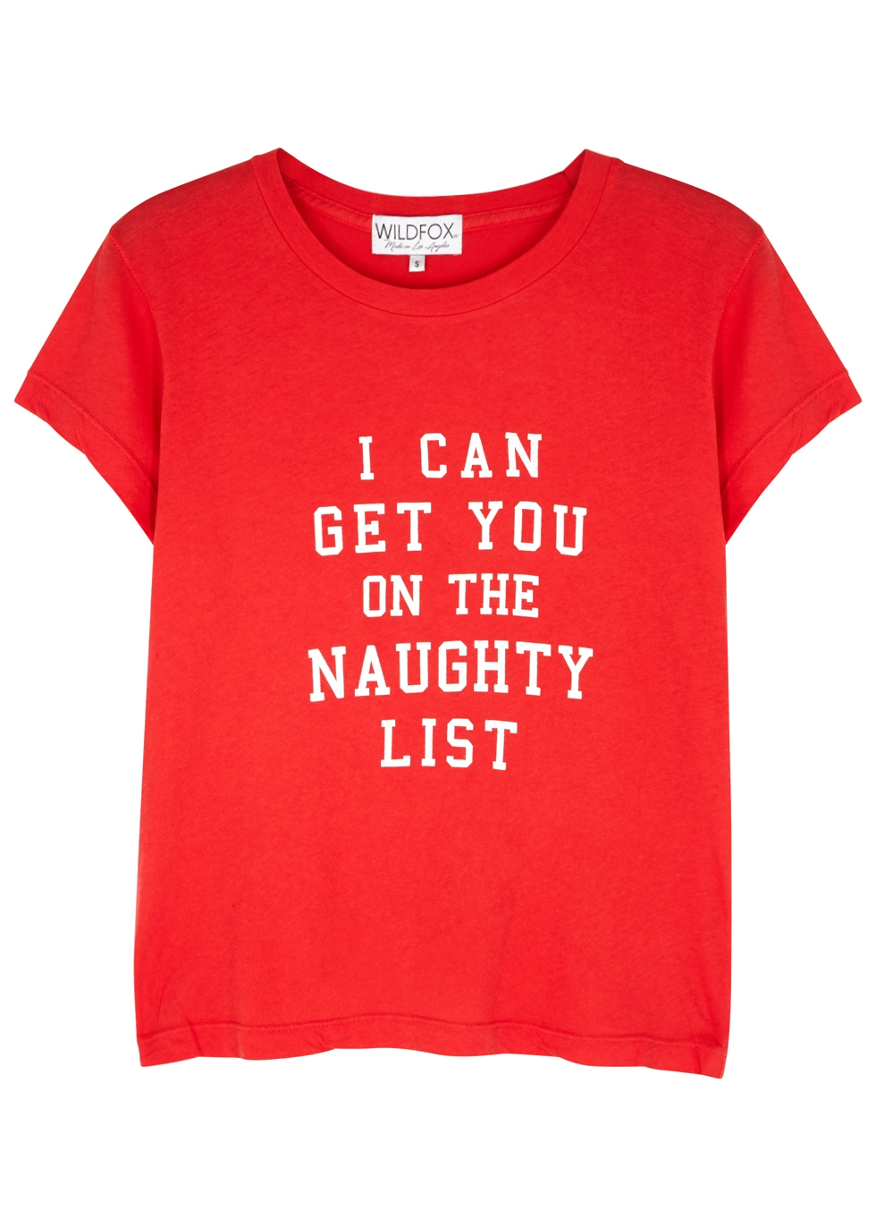 WILDFOX Naughty List Printed Cotton-Jersey T-Shirt in Red