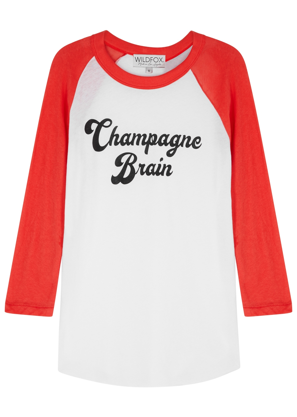 Champagne Cotton Baseball Tee in White