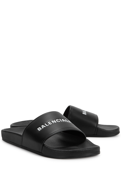 fc8ca1c3a Balenciaga Black logo leather sliders - Harvey Nichols