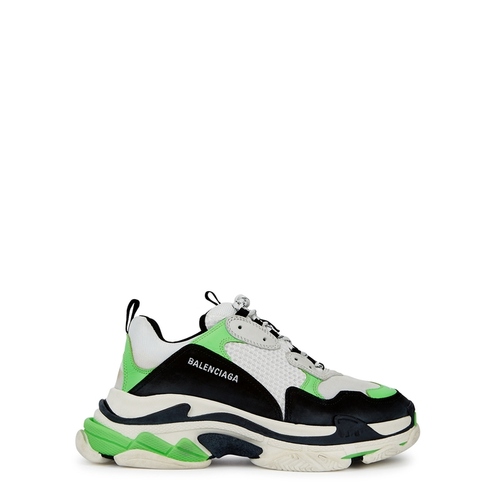 Balenciaga Triple S Leather And Nubuck Trainers