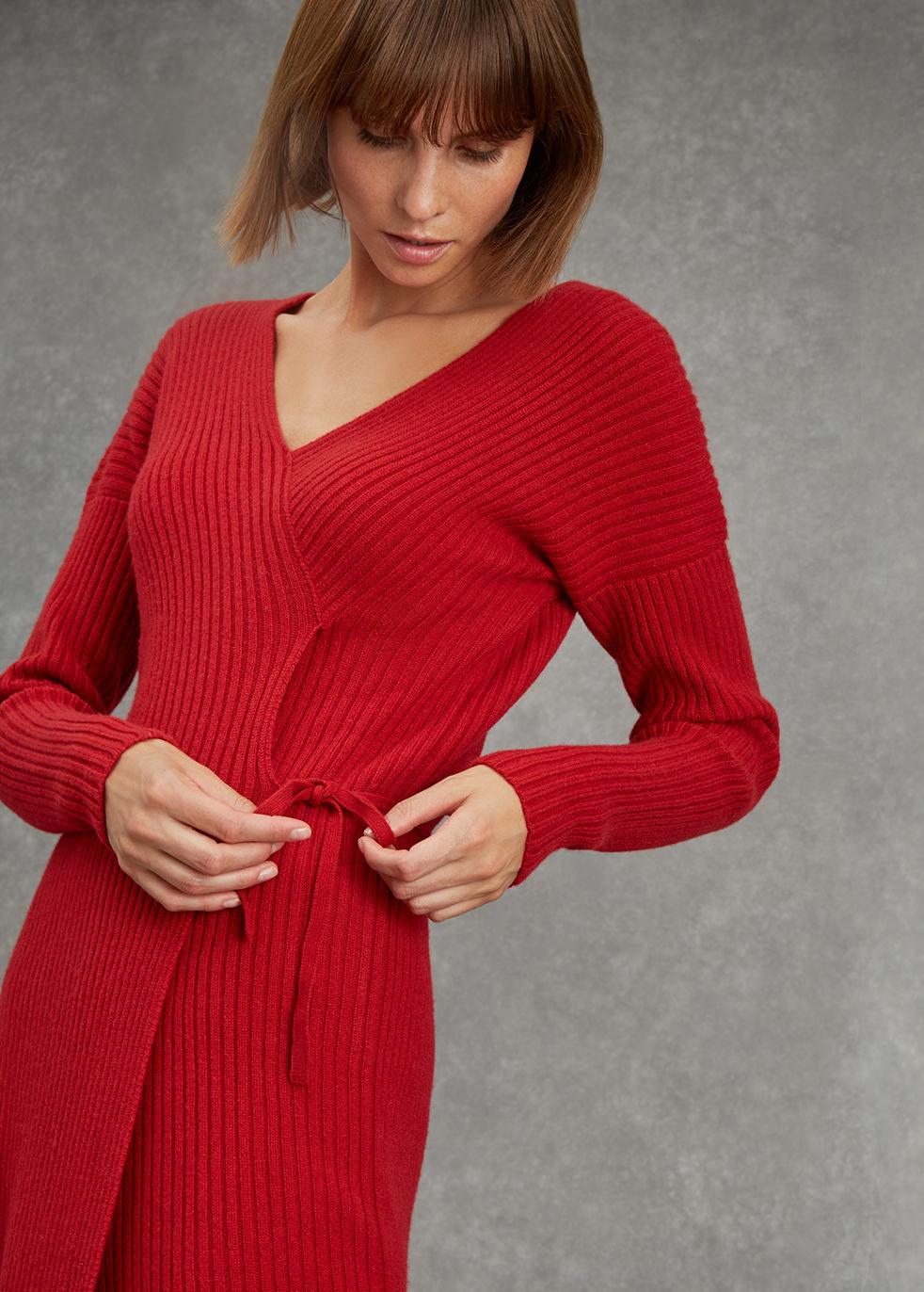 Red wrap ribbed cashmere dress - Varana