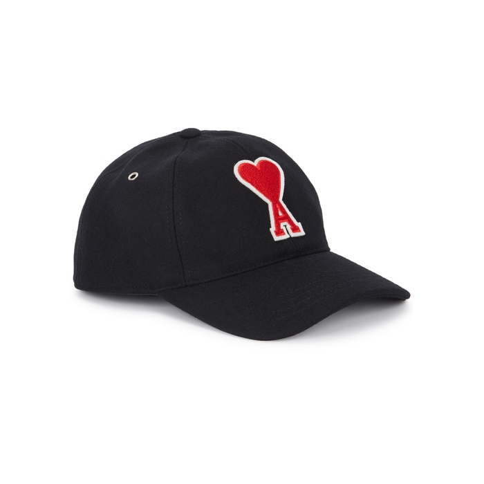AMI Black Embroidered Felt Cap