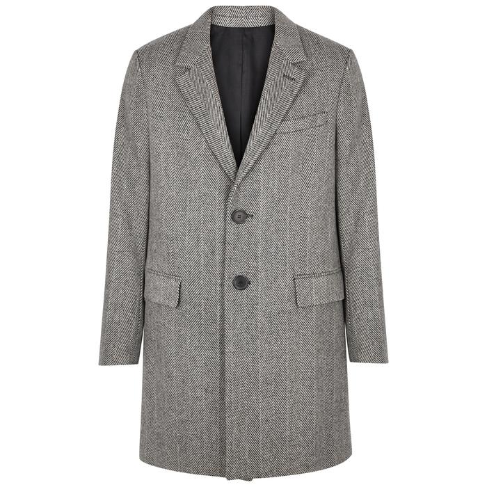 AMI Grey Herringbone Wool-blend Coat
