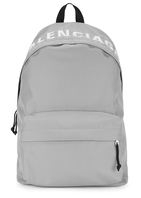 Grey logo-embroidered nylon backpack ...