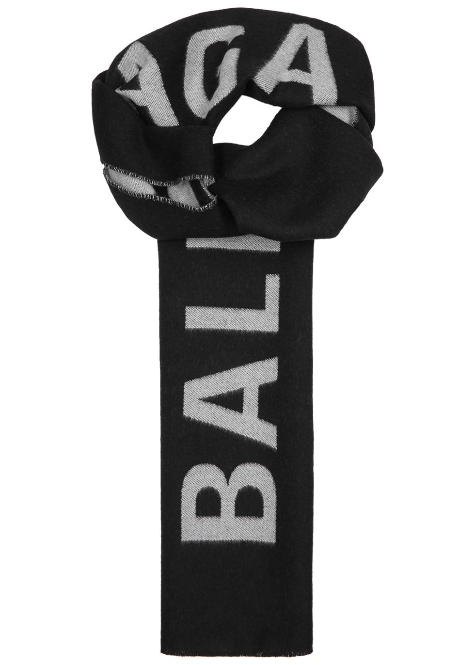 88cf0d223 Balenciaga Black logo-intarsia wool scarf - Harvey Nichols