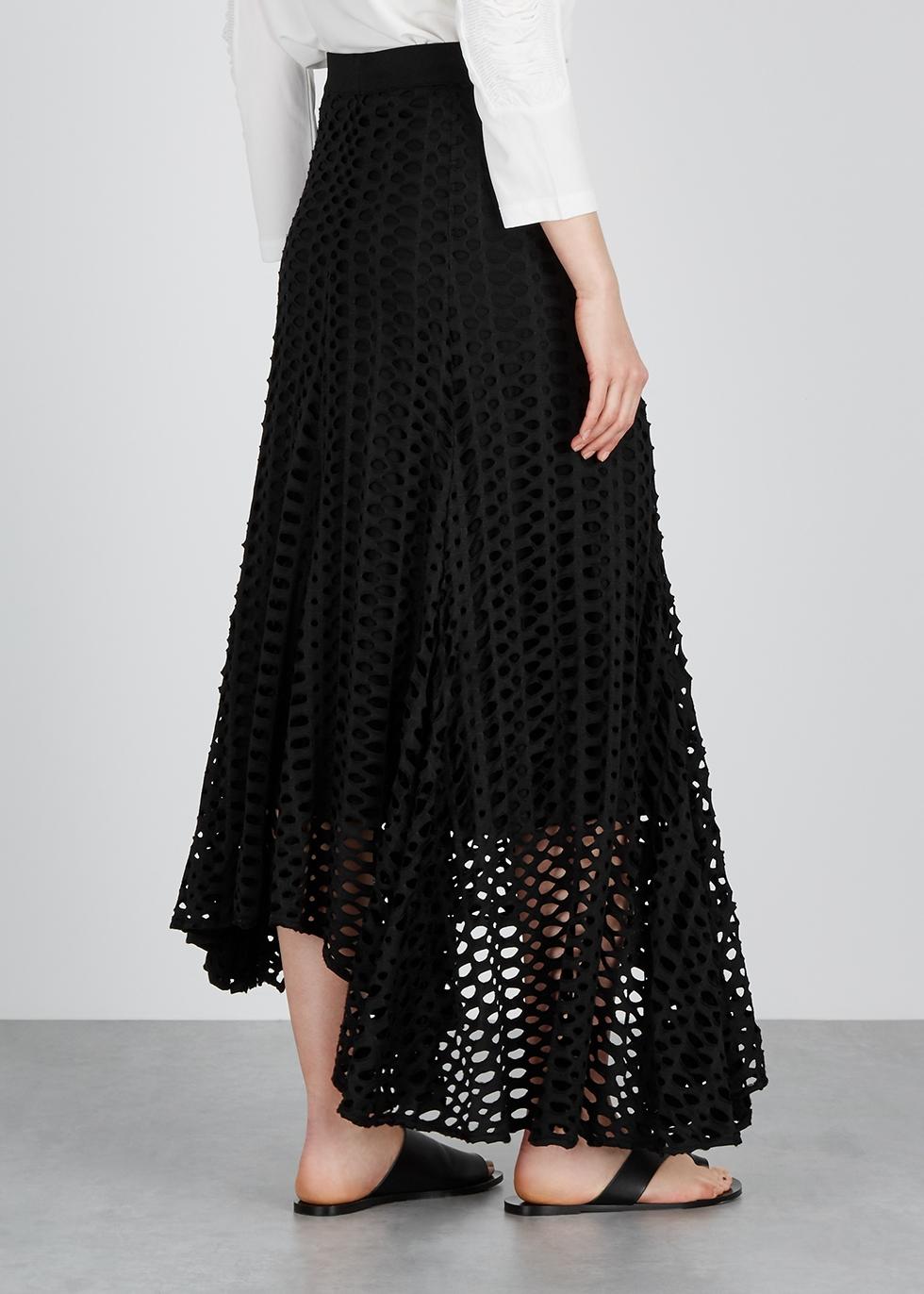 Black pointelle-knit jersey midi skirt - BY MALENE BIRGER