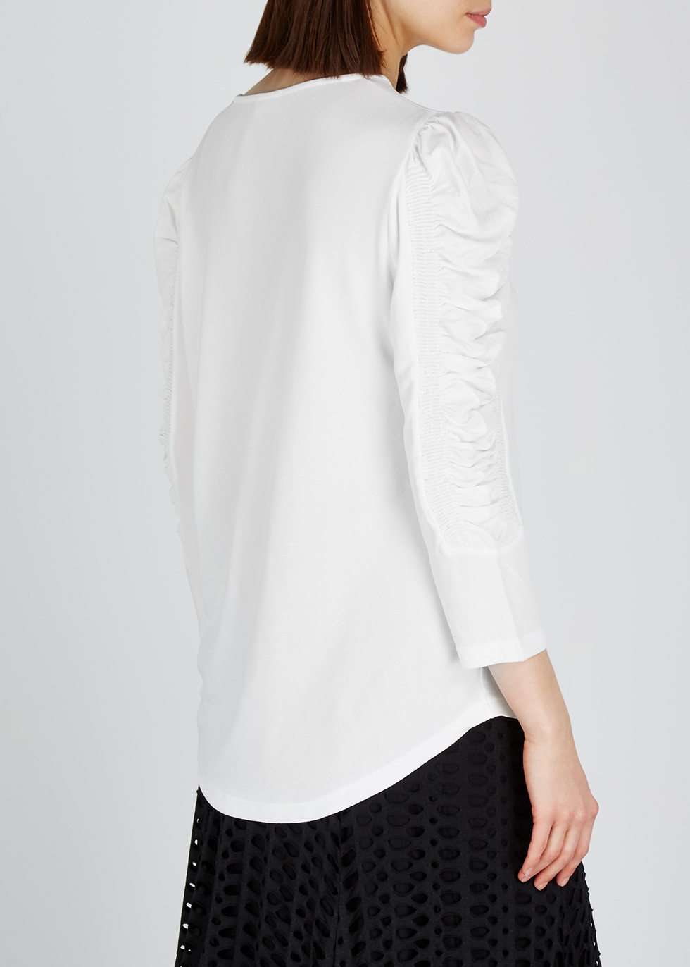 Off-white ruched jersey top - BY MALENE BIRGER