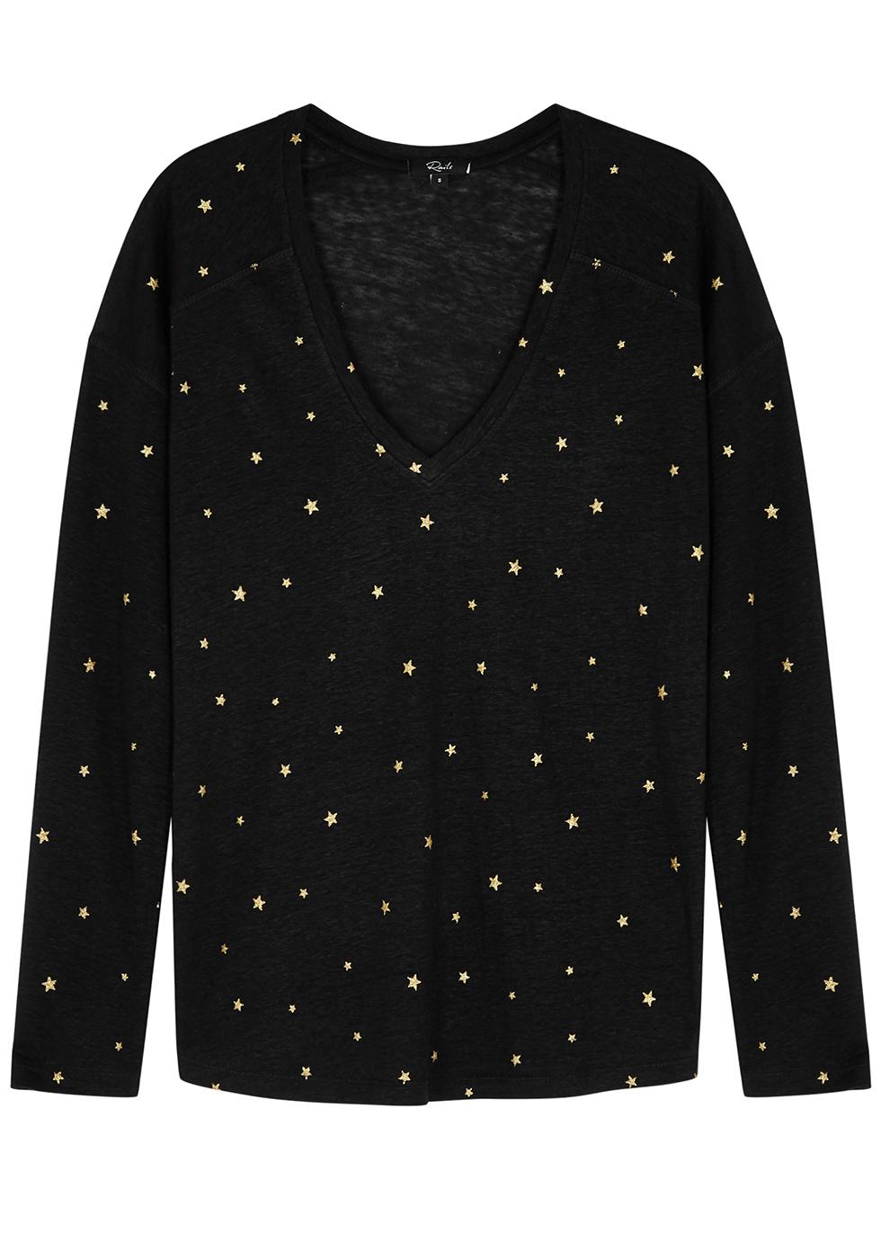 Sami Star-Print Linen-Blend Top in Black