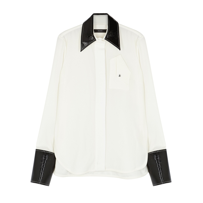 Ellery T-shirts THESIS FAUX LEATHER-TRIMMED SHIRT