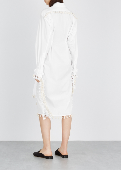 b184fb79706 Loewe White pompom-embellished shirt dress - Harvey Nichols