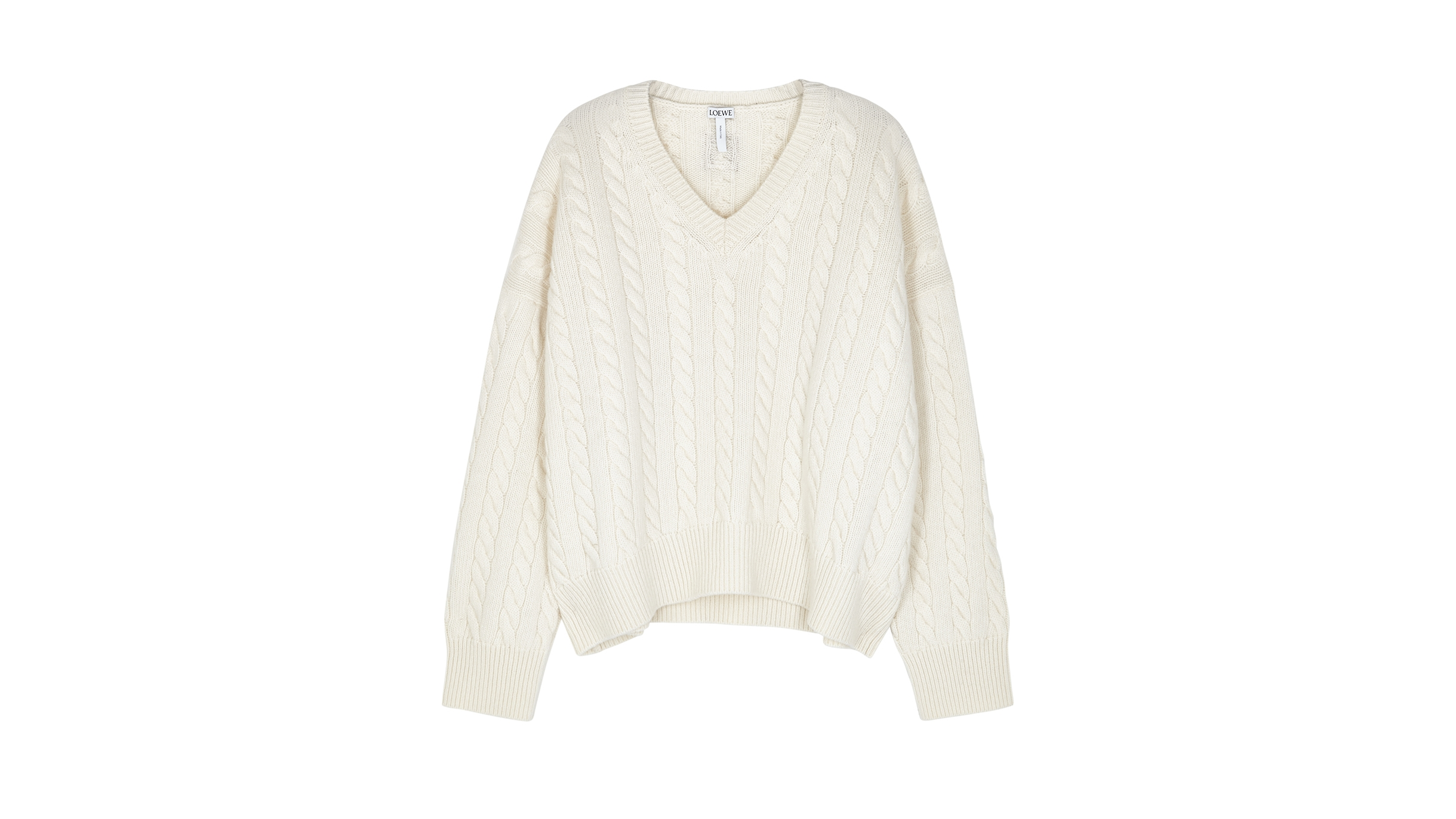 2ed9b4bc98 LOEWE Cream cable-knit wool jumper - Harvey Nichols