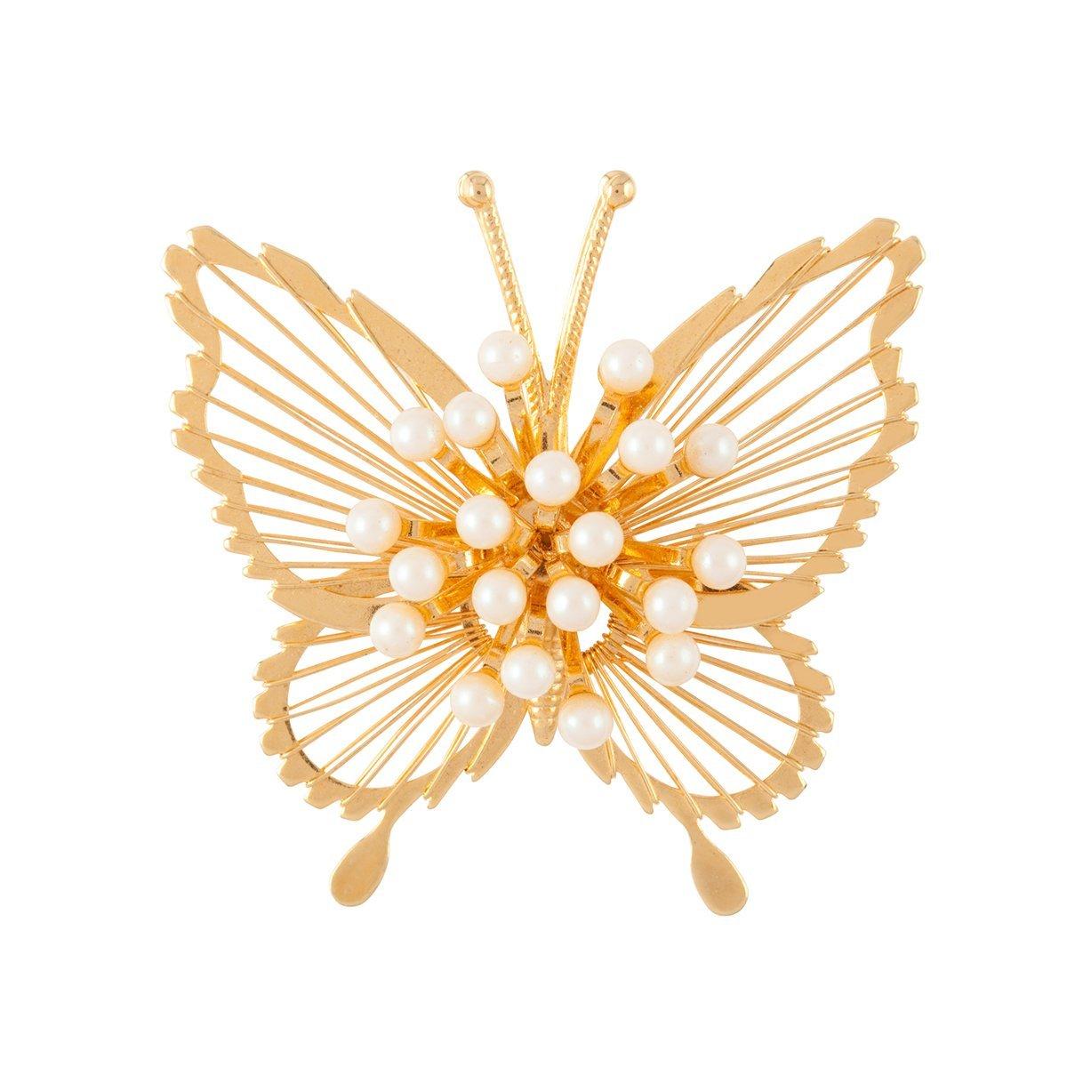 1970S Vintage Monet Faux Pearl Butterfly Faux Pearl Brooch