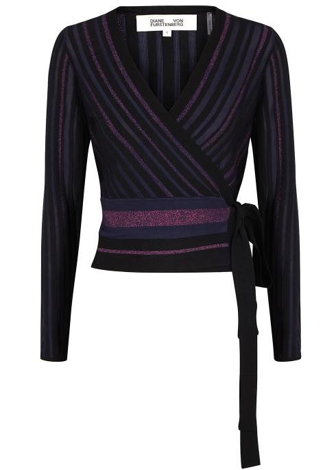 38f7963f303 Diane von Furstenberg Laren black metallic-knit wrap top - Harvey ...