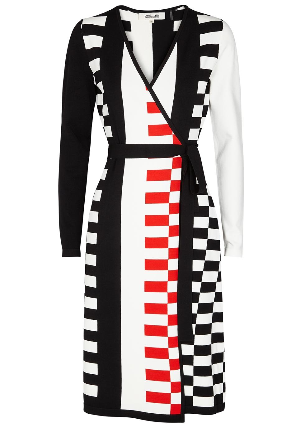 Diane Von Furstenberg Enzo Stretch-Knit Wrap Dress in Black