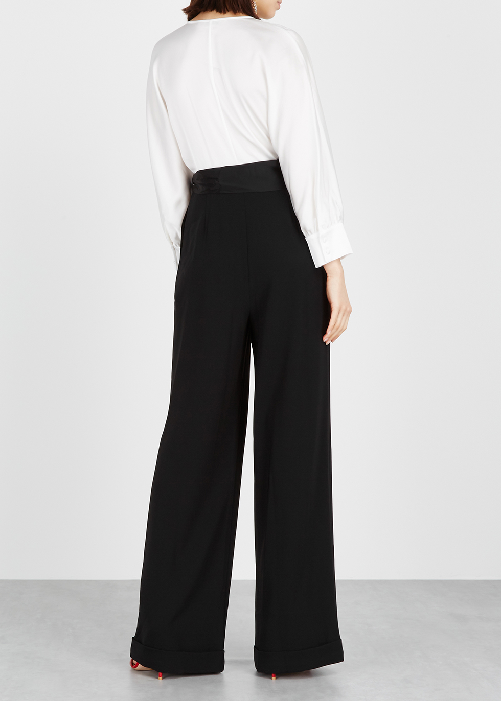 Crepe Jumpsuit Von Furstenberg Satin And Diane Marle Monochrome 8SP8Zw