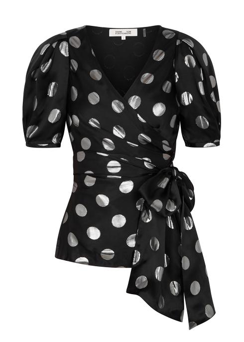 e1be84057ce Diane von Furstenberg Larryn lamé-spot silk satin top - Harvey Nichols