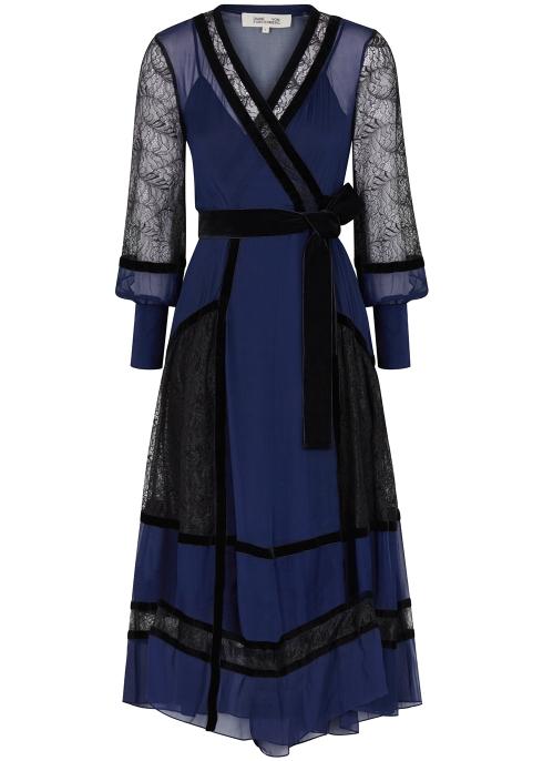 b3468b93a6007 Diane von Furstenberg Forrest lace and silk chiffon midi dress ...