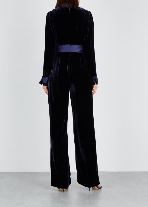 fbf1337461bd Diane von Furstenberg Claude satin-trimmed velvet jumpsuit - Harvey ...