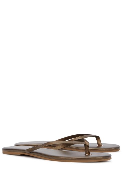 4906f5cc3 Melissa Odabash Taupe metallic leather sandals - Harvey Nichols