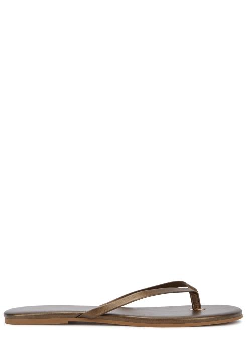 77b3214df Melissa Odabash Taupe metallic leather sandals - Harvey Nichols