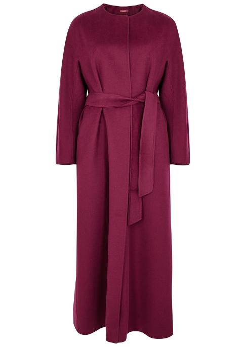 f560e917f082 Max Mara Studio Beirut bordeaux wool-blend coat - Harvey Nichols