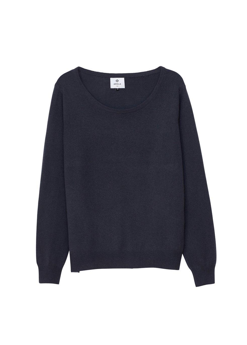 ARELA Laine Cashmere Sweater In Dark Grey